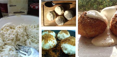 Hungarian quark cheese dumplings