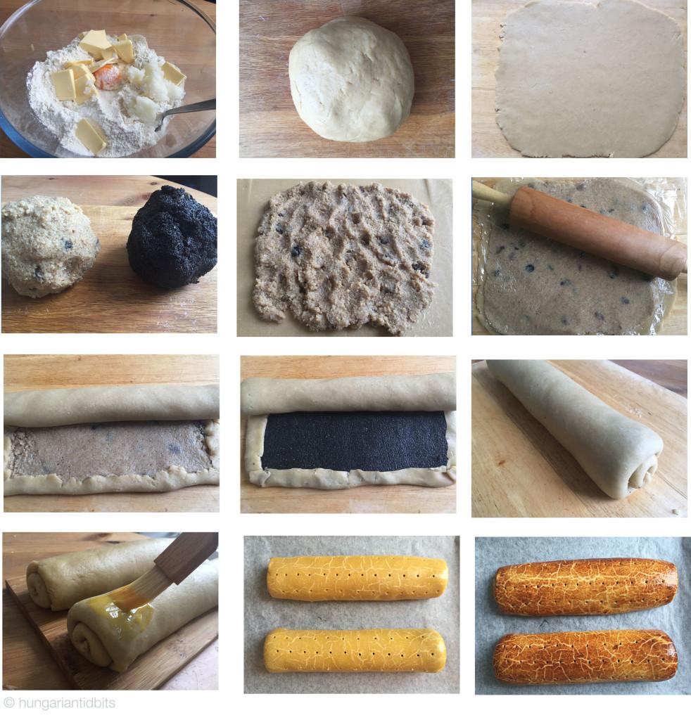 Hungarian walnut rolls, bejgli