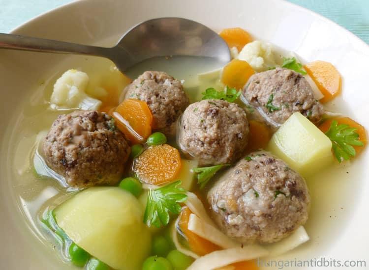 Hungarian liver dumpling broth
